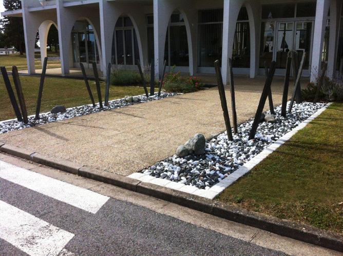 Sablo d co galet de marbre noir Jardin avec galets blancs